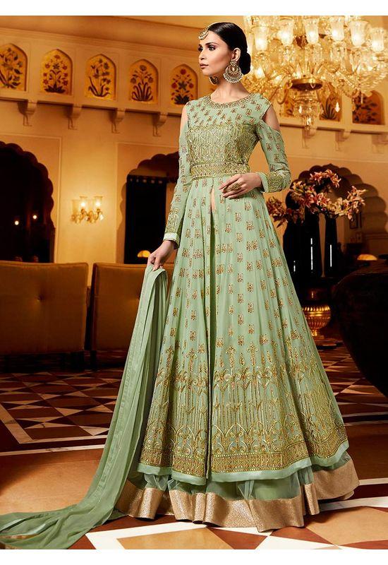 Green Georgette Layered Lehenga Anarkali Dress