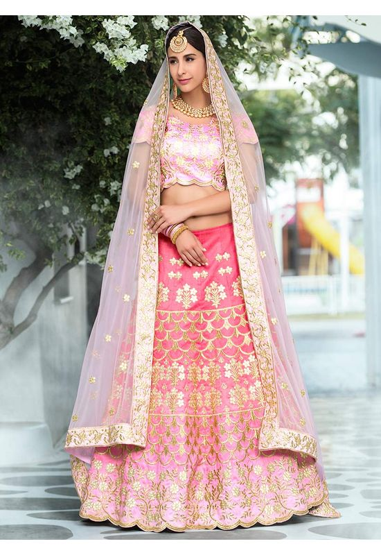 Light Pink Gotta Patti Work Art Silk Bridal Lehenga