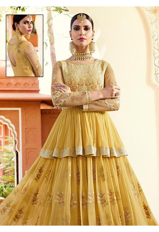 Light Yellow Georgette Long  Anarkali Suit
