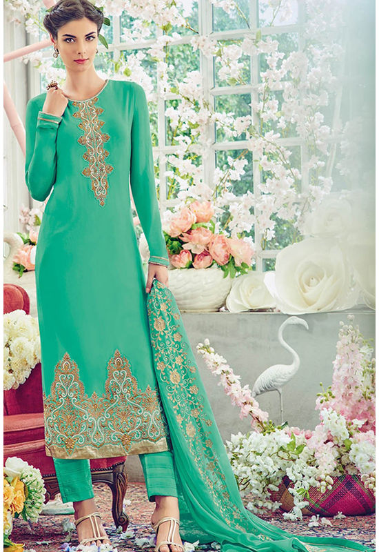 Green Color Georgette Partywear Straight Suit