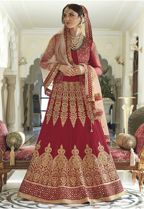 Maroon Color Art Silk Net Anarkali Lehenga