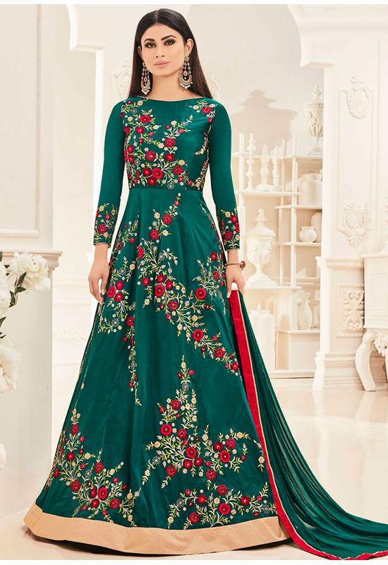 Mouni Roy Green Long Anarkali Salwar Suit with Resham Thread Work