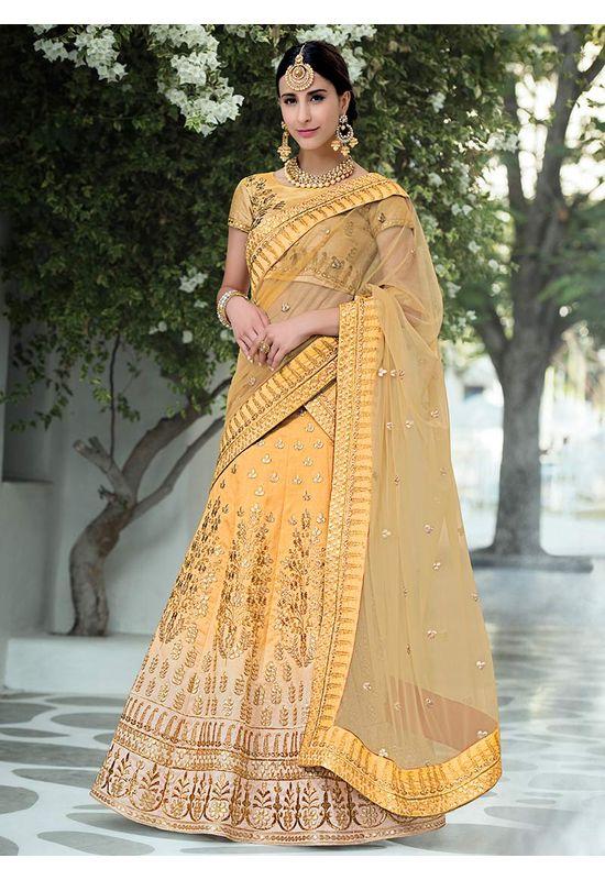 Mustard Yellow  Gotta Patti Work Art Silk Bridal Lehenga