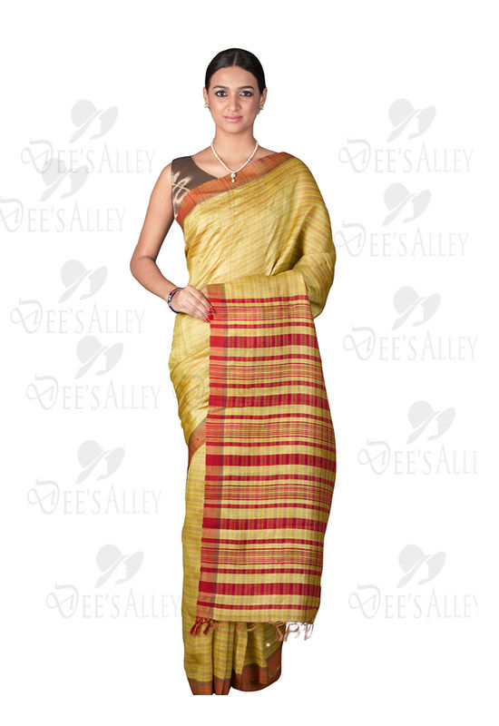Dee's Alley Olive Green with Red Tussar Silk Saree