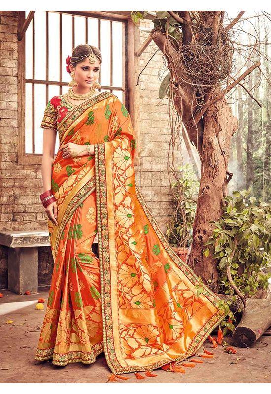 Banarasi Silk Wedding saree with Meenakari weave in Orange Color