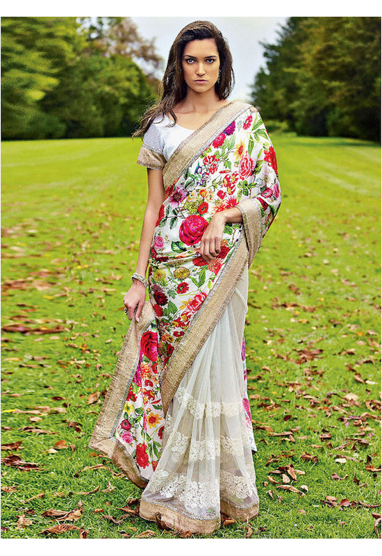 Floral  Printed Satin & Net Saree in Multi Colour