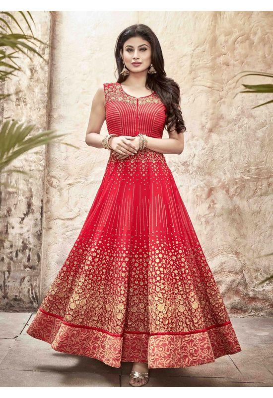 Mouni Roy Red Long Anarkali Salwar Suit with Zari work