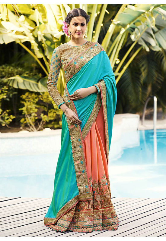 Peach and Turquoise Green Heavily Embroidered  Designer Designer Saree