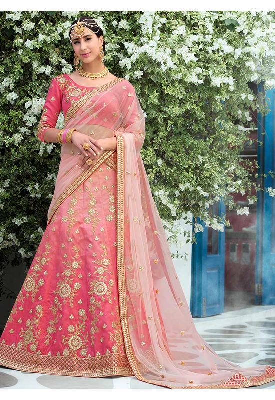 Shaded Pink  Art Silk Bridal Lehenga