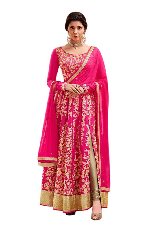 Art Silk Long Anarkali Suit in Magenta Pink Colour