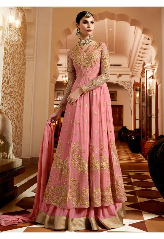 Pink Georgette Layered Lehenga Anarkali