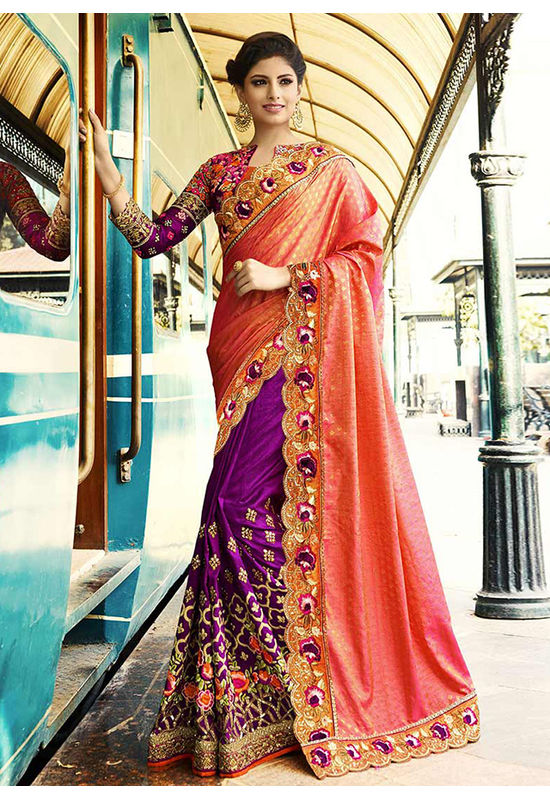 Peach and  Purple Heavily Embroidered  Designer Designer Saree