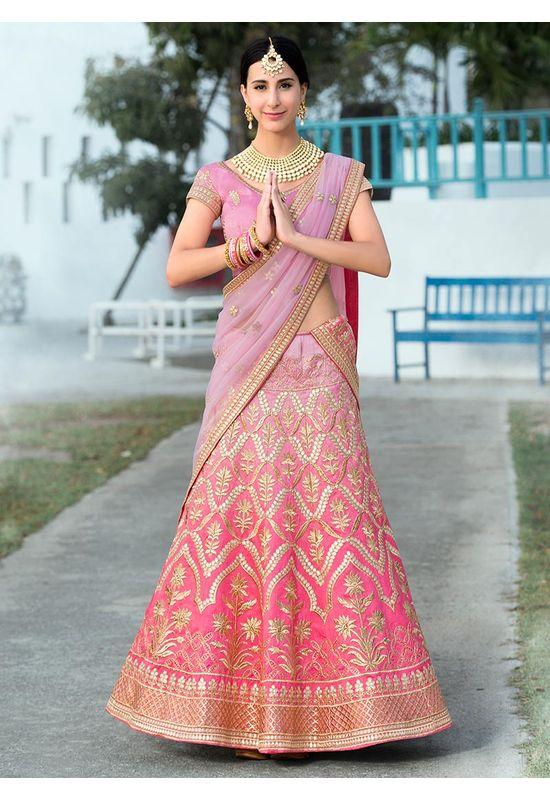 Shaded Pink  Gottal Patti Work Art Silk Bridal Lehenga