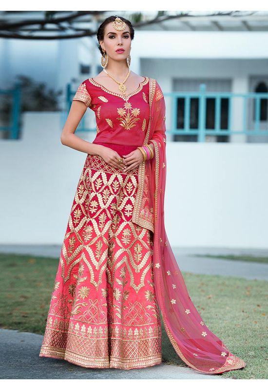 Dark Pink  Gotta Patti Work Art Silk Bridal Lehenga