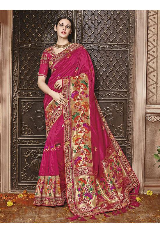 Dark Pink  Kanjeevaram silk saree with embroidery