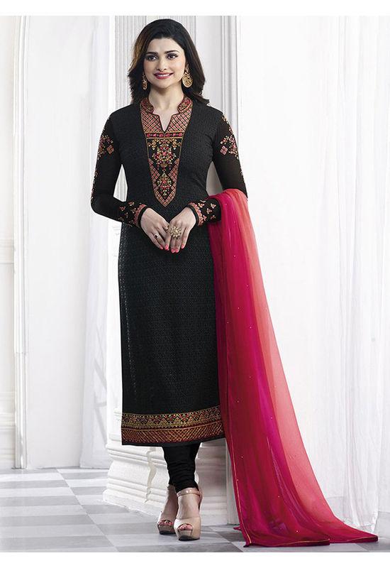 Prachi Desai black georgette straight suit 41