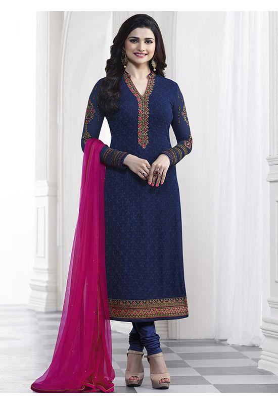 Prachi Desai blue georgette straight suit 37