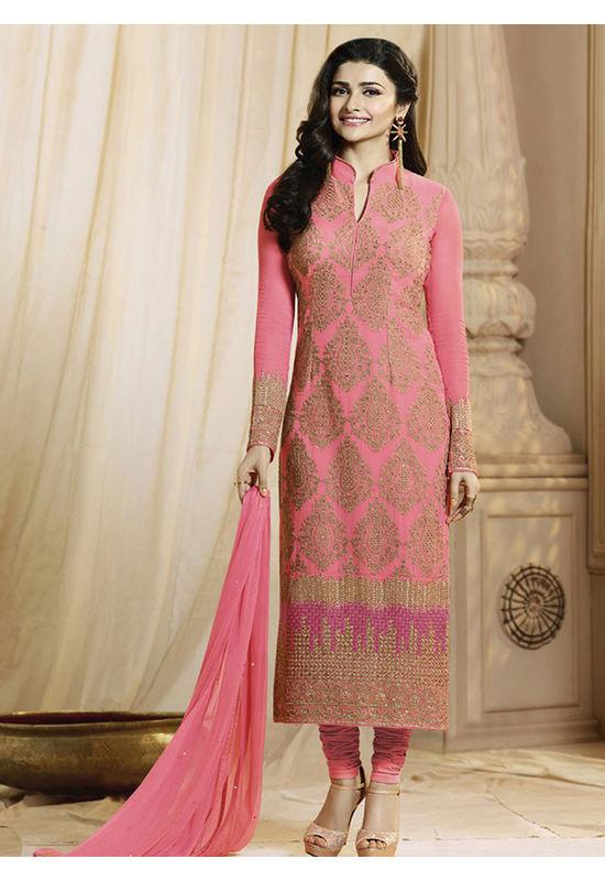 Prachi Desai coral Pink georgette straight suit 60