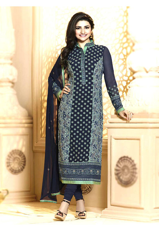 Prachi Desai navy blue georgette straight suit 64