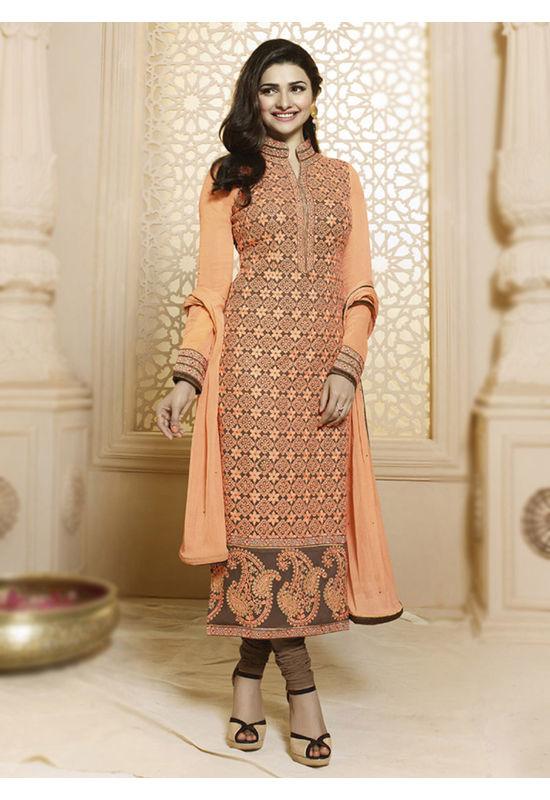Prachi Desai orange n brown straight suit 62