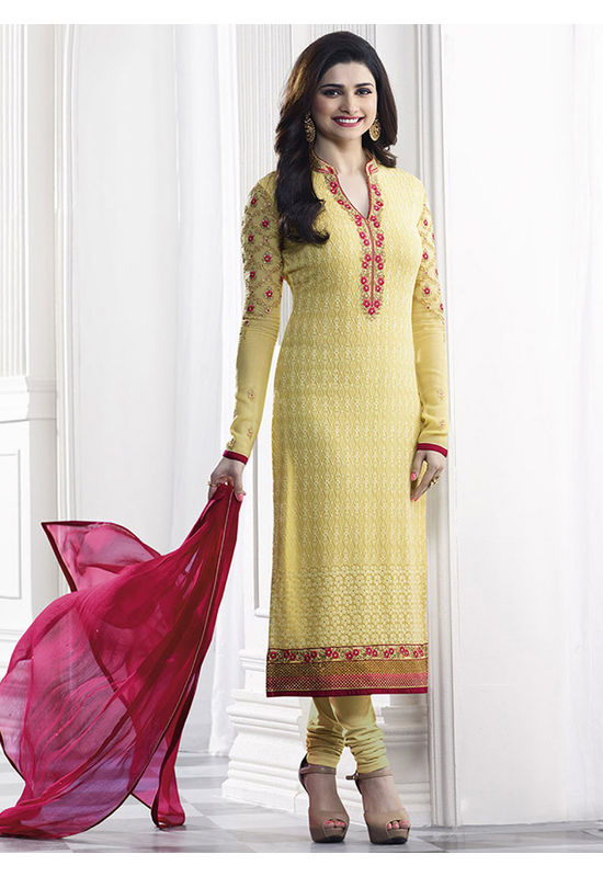 Prachi Desai yellow georgette straight suit 38