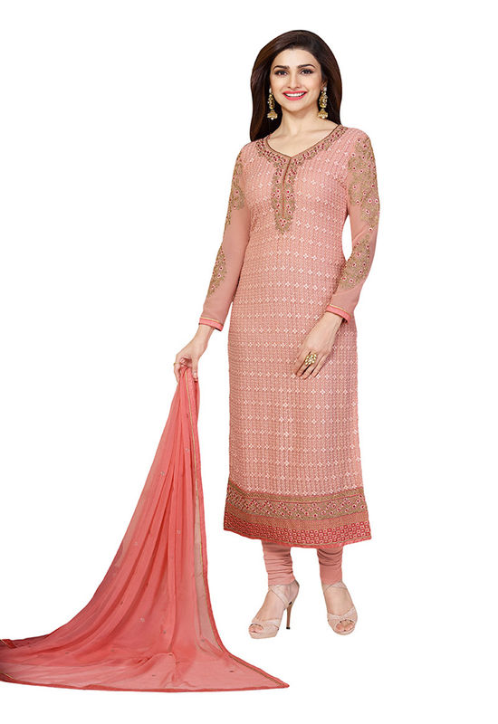 Prachi Desaiight coral Peach straight suit 33092