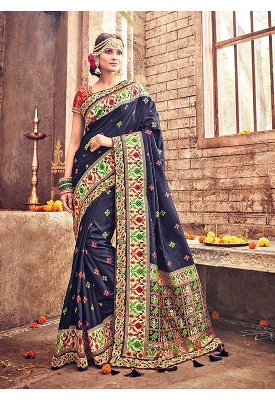 Banarasi Silk Wedding saree with Meenakari weave in Blue Color