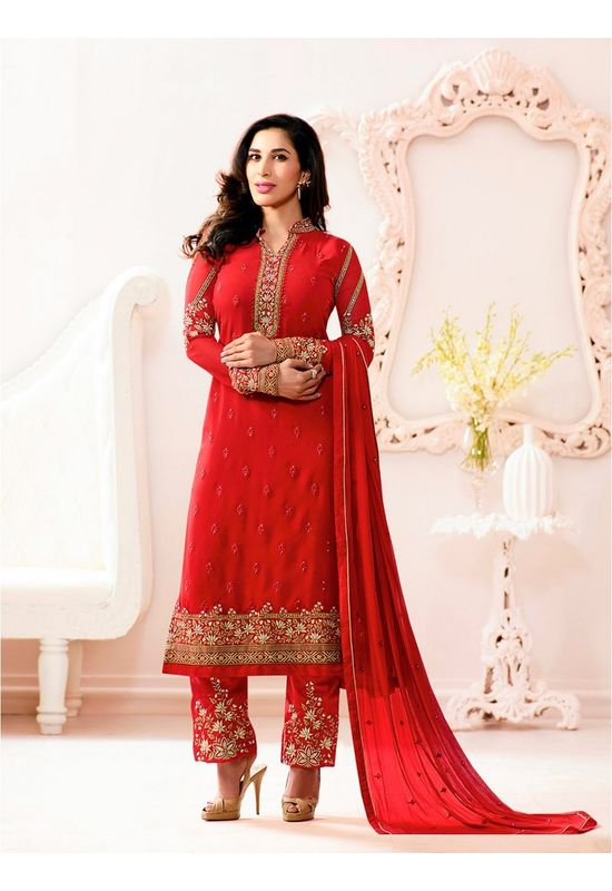 Sophie Chaudhary   red georgette suit with embroidery work