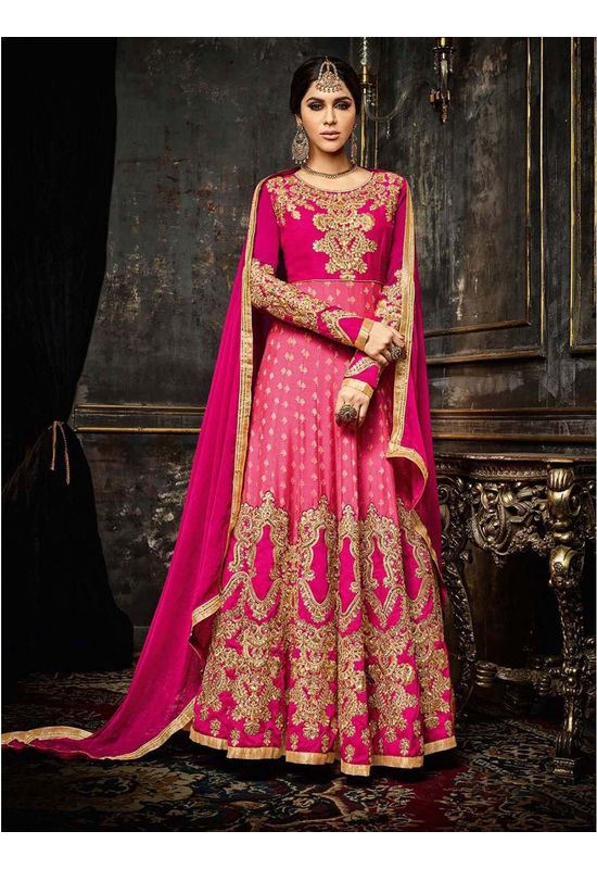 Hot Pink Long Anarkali Suit with Gota Patti Work