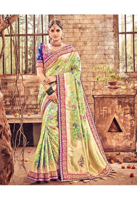 Banarasi Silk Wedding saree with Meenakari weave in Green & Pink Color