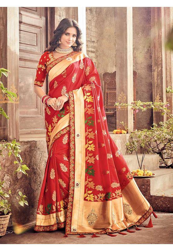 Banarasi Silk Wedding aree with Meenakari weave in Red Color