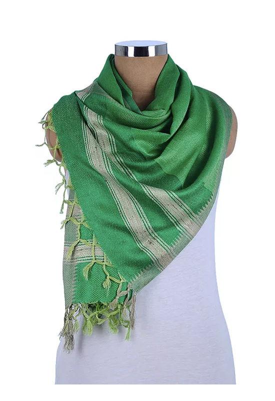 Dee's Alley  Green Beige Eri Munga Silk Stole