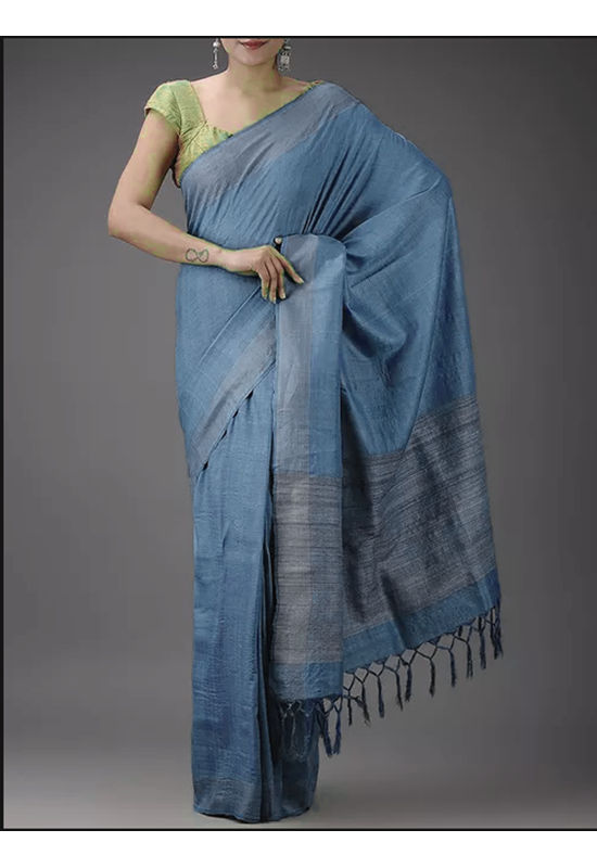 Dee's Alley Blue Eri-Tussar Silk Saree with Ghicha Pallu