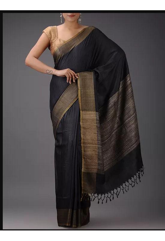 Dee's Alley Black Eri-Tussar Silk Saree with Ghicha Pallu