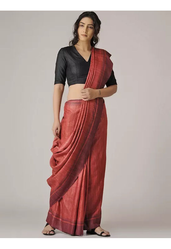 Dee's Alley Red Tussar Silk Saree