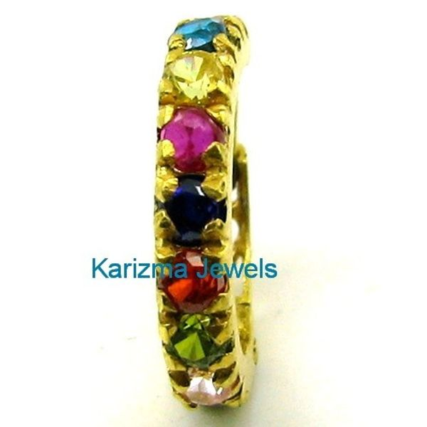 Multicolor Bollywood Indian Style CZ Studded Nose Hoop Ring 14k