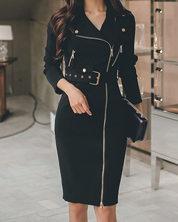 White-black elegant small lapel fashion bodycon dress