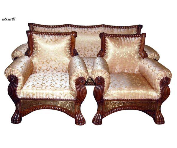 Wooden 5 Seater Sofa Set Brass Inlay Ca 22 Centenarian Art