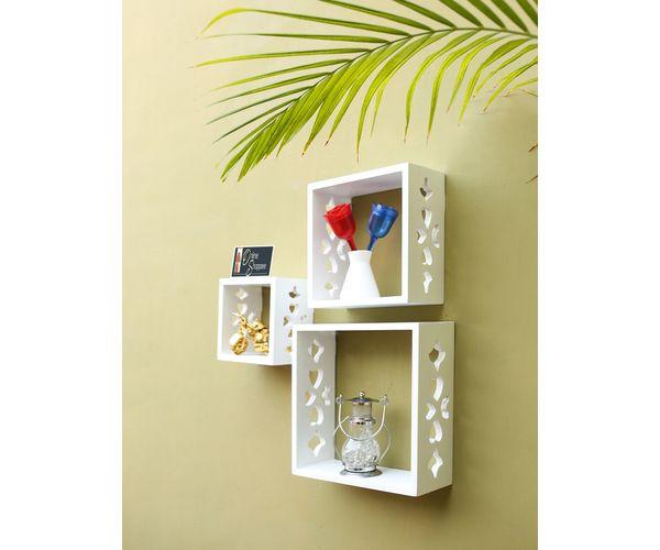 sale retailer 45110 6bc6b Onlineshoppee Square Nesting MDF Wall Shelf - White