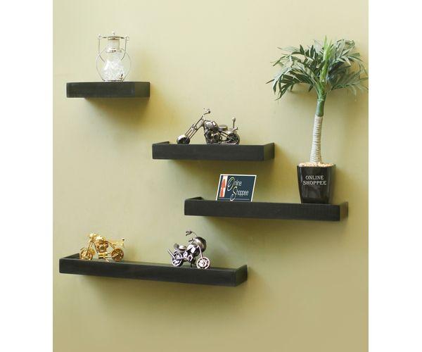 75a70bb9595 Zoom. Sale. Onlineshoppee Beautiful Wooden Black Rectangular Wooden Wall  Shelf ...