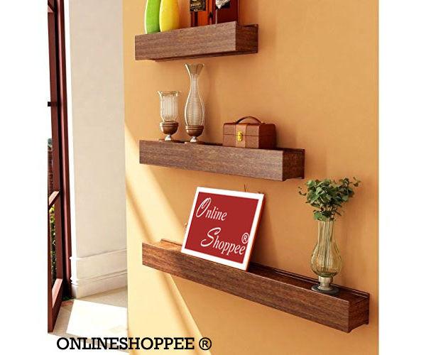 608afd10152 Onlineshoppee Beautiful Wooden Brown Rectangular Wooden Wall Shelf set of 3