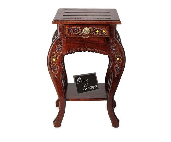 Wooden hand carved side table stools buy furniture online in india