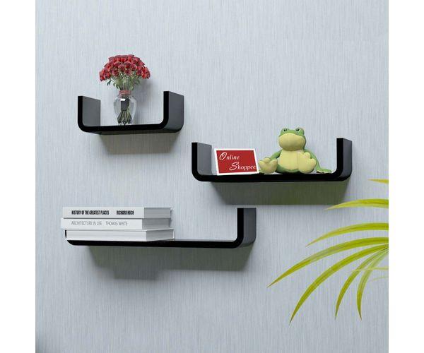 new style 3a14c 38160 Onlineshoppee U Shape Floating MDF Wall Shelves Set of 3 - Black