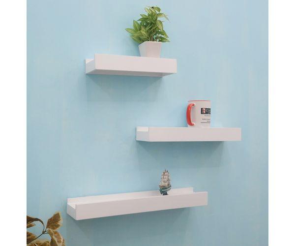 the best attitude 845e6 01355 Onlineshoppee Beautiful MDF White Rectangular MDF Wall Shelf (Set of 3)