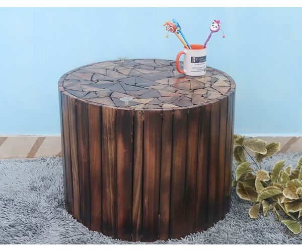 Wood Round Table.Onlineshoppee Bloque De Madera Wooden Round Coffee Table