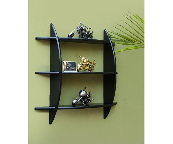 Onlineshoppee Beautiful Black 3 Tier Wooden Wall Shelvesrack Size