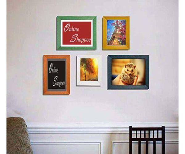 Onlineshoppee Hasin set of 5 colorfull individual pure wood photo ...