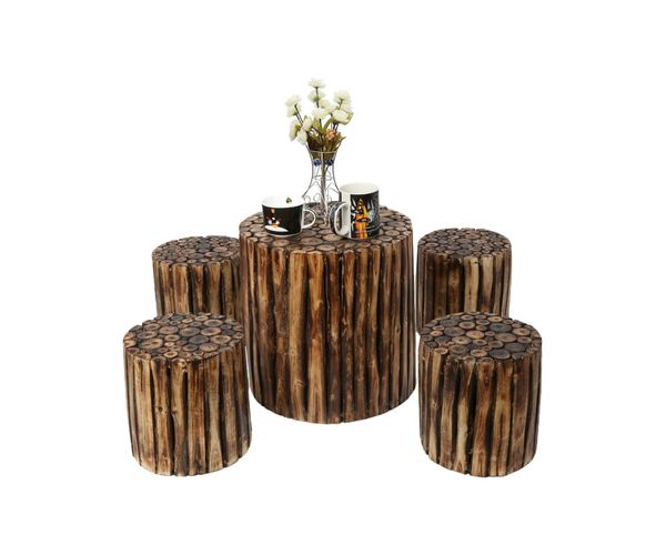 Round Table Madera.Onlineshoppee Bloque De Madera Wooden Round Coffee Table With 4 Stool