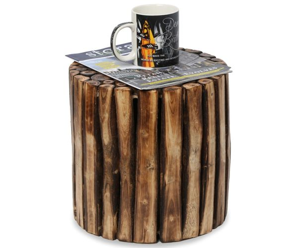 Wooden Stool Chair Table Made From Natural Wood Blocks