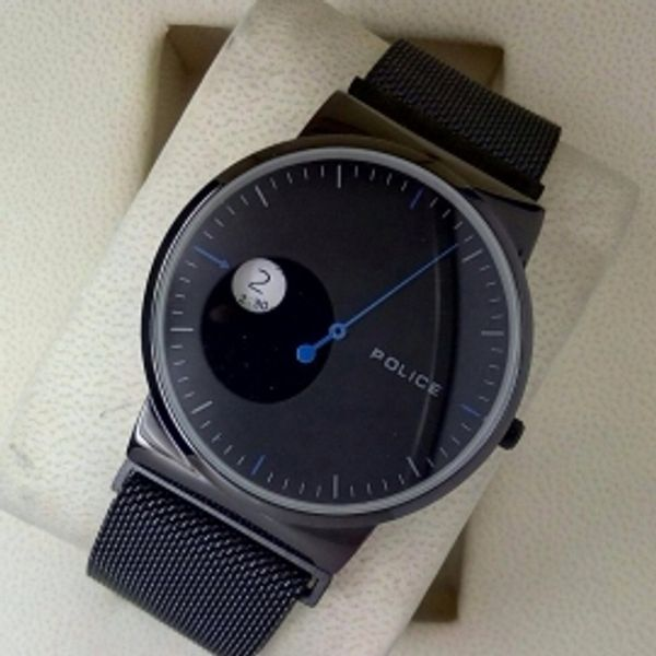 Police imported full black magnet strap slim fit watch for men polmag blu for Magnetic watches